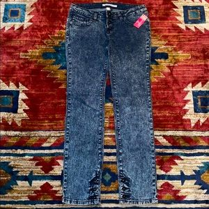 Xhilaration Dark Acid Wash Skinny Button Fly Jeans